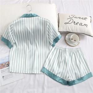 Image 3 - Fiklyc ensemble pyjama manches courtes pour femme, sous vêtement, pantalon court à rayures, sexy et mignon, pour filles, été, collection ensembles de vêtements de nuit