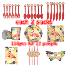 116pcs Flamingo theme birthday party plates banner kids favors cup dishes 12people use