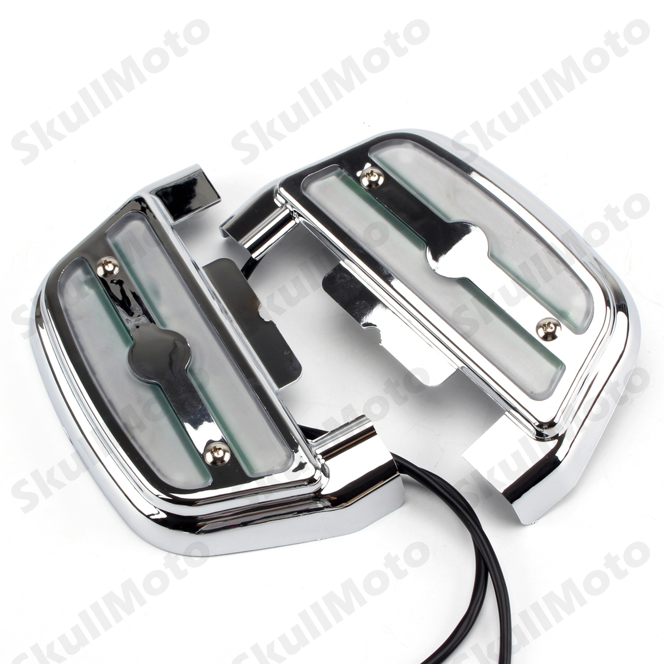 Motorcycle Lighted Passenger Footrest Footboard Cover Kit For Harley Touring Chrome Clear