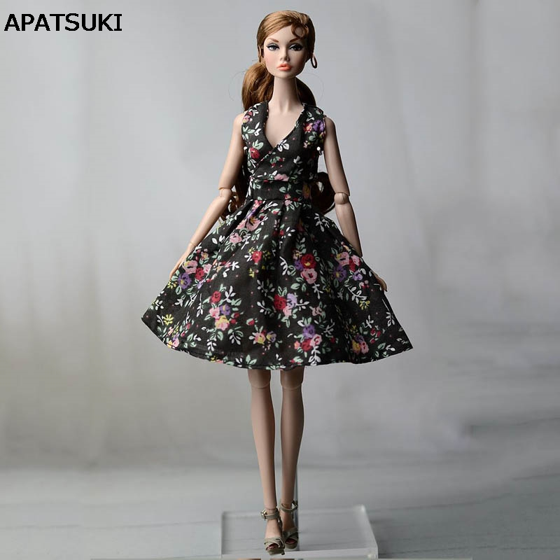 Black Flower Countryside Floral Dress For Barbie Doll Clothes Evening Dresses Clothes For Barbie Dolls Outfits Doll Accessories