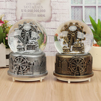 Fashion Romance The Crystal Ball Music Box Snowflake Rotating Luminous Birthday Gift To Send Girls To Creative Bestie Children