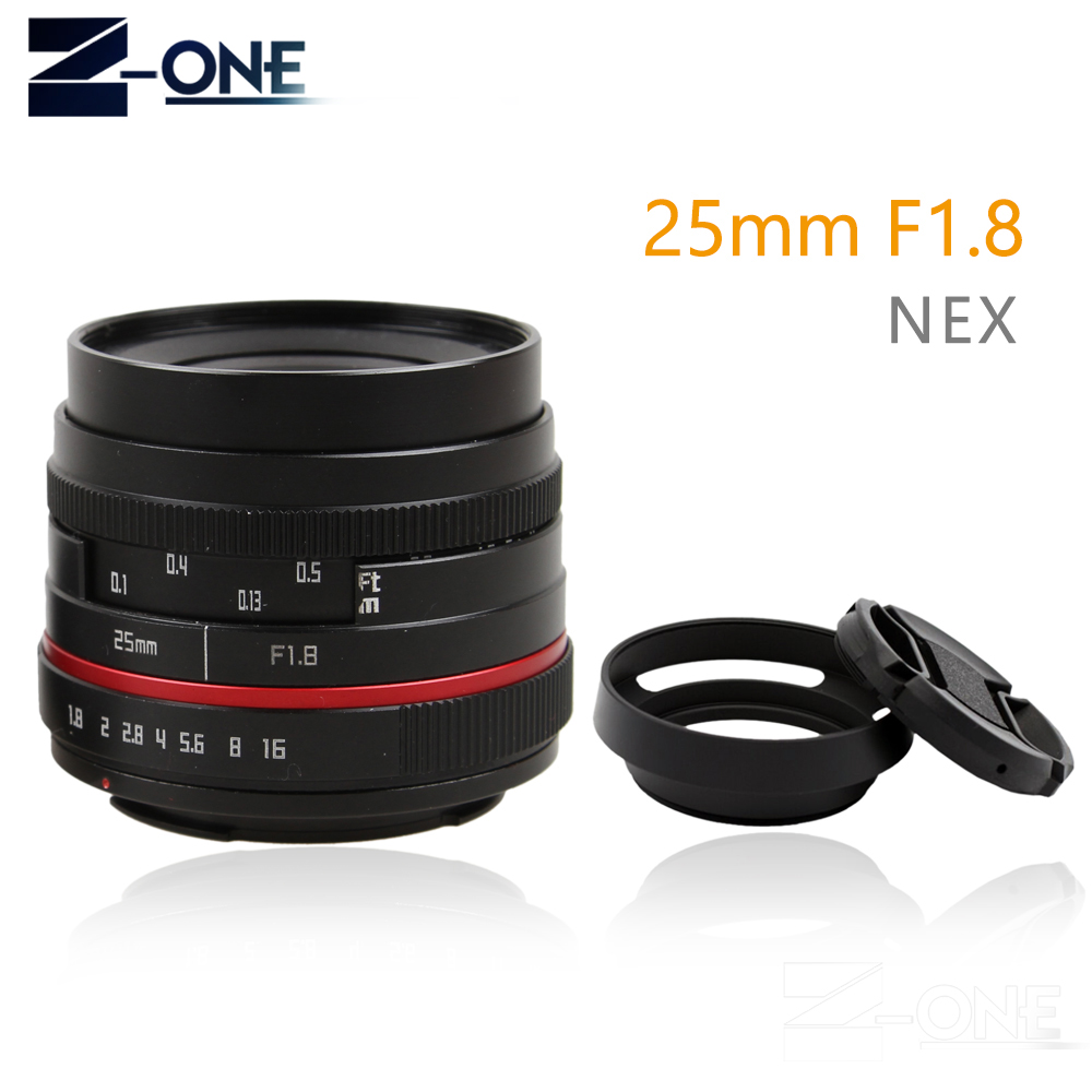 Red 25mm 25 F1.8 Manual Wide Angle Lens+Lens hood For Sony E Mount Nex-5T Nex-F3 Nex-6 Nex-7 Nex-5R A6300 A6100 A6000 A6500 35mm f1 6 cctv lens c mount camera lens lens hood kit for sony a6500 a6300 a5100 a6100 a6000 a5000 a3000 nex 5t nex 3n nex 6