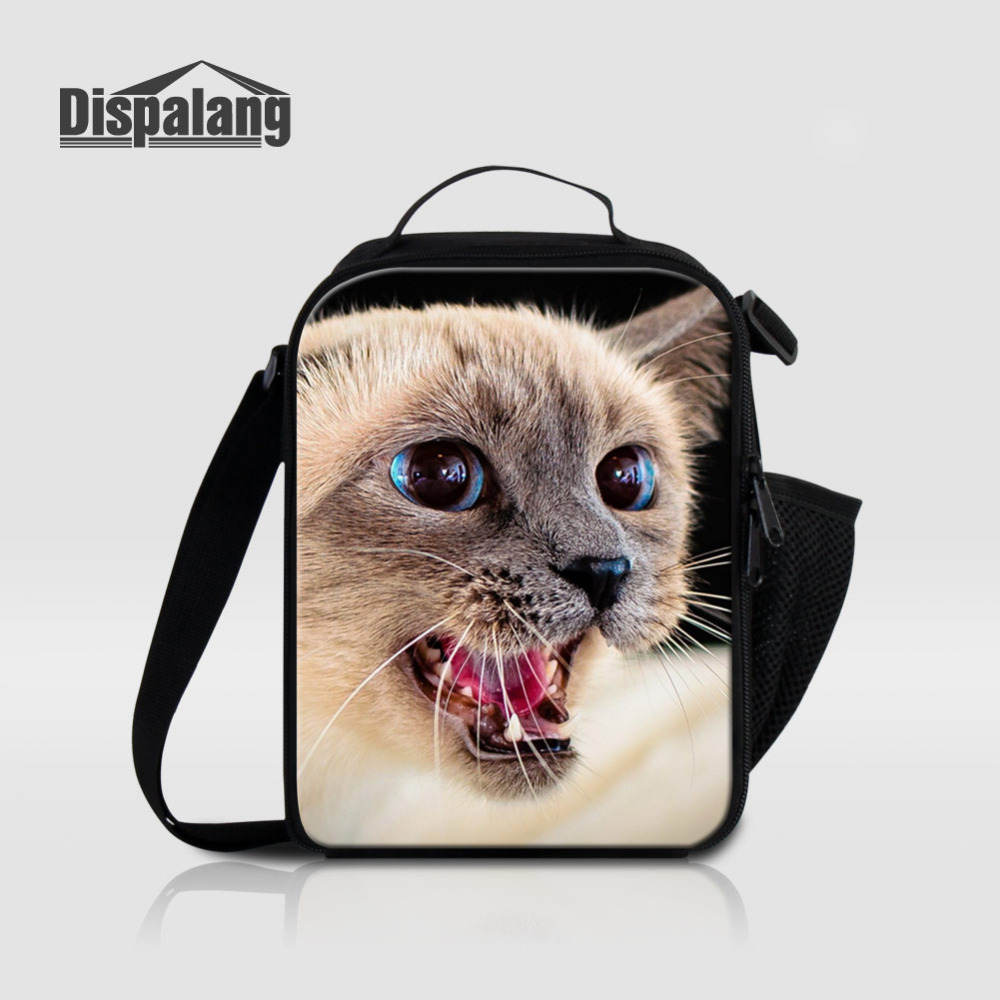 Dispalang Animal Pattern Lunch Bag Portable Insulated Kids Lunchbag Cute Cat Print Thermal Food Picnic Fags For Students Snack