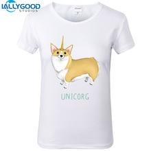 New Summer Cute Unicorn T Shirts Women Funny Corgi Dog Unicorg Letter Printed White Tops S1020