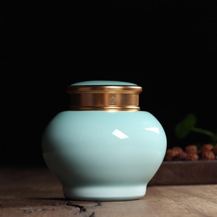 Gift Package Chinese Longquan Celadon Yixing Zisha Ceramics Art 565g Eco Friendly Tea Caddy Tea Canister Tea Porcelain Jar