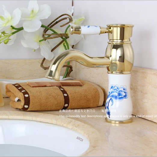 Gold faucet New Fashion Brass Bathroom basin Faucets Single Handle with Ceramic Body and Handle Mixer Torneira Banheiro Q-14 new bullet head bobbin holder with ceramic tube tip protecting lines brass copper material