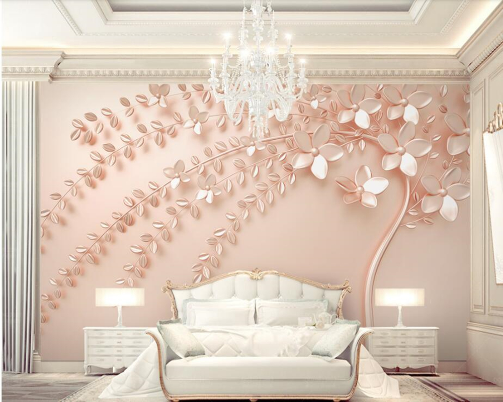 Papel De Parede Rose Gold An Embossed Tree 3d Wallpaper Murals Living Room Sofa Tv Wall Bedroom Kitchen Wall Papers Home Decor Aliexpress