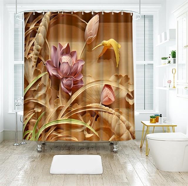 3d Foglia di Loto Stile Classico Vista Tende Da Doccia Bagno Tenda Confortevole