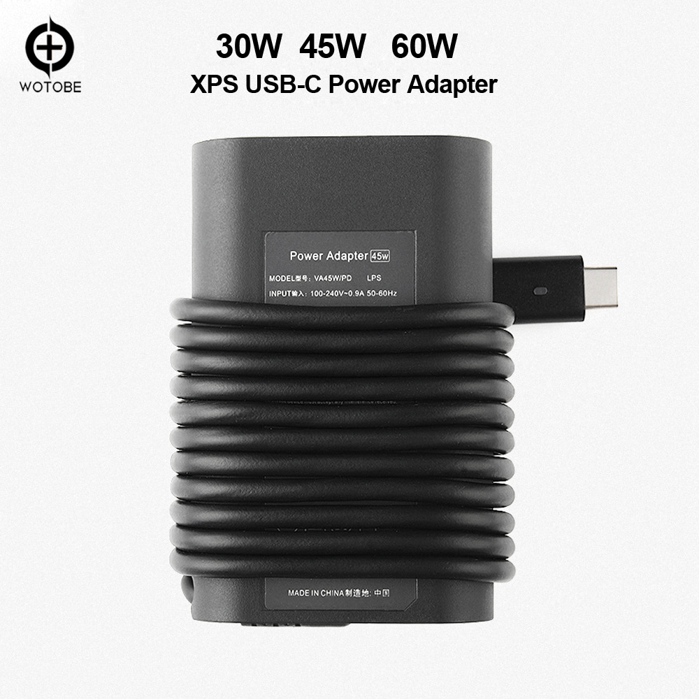 Wotobe USB-C PD (Type-C) Power Adapter Output 30W 45W 65W Charge For DELL XPS LATITUDE Compatible With Type-C Notebook Computers