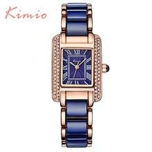 KIMIO Nuevo Reloj de Mujer de Marca de Lujo Del Rhinestone Azul 2016 Mujeres Relojes de Señora Vintage Reloj de Cuarzo Vogue Fashion Montre Femme 6036 Relojes Mujer azules