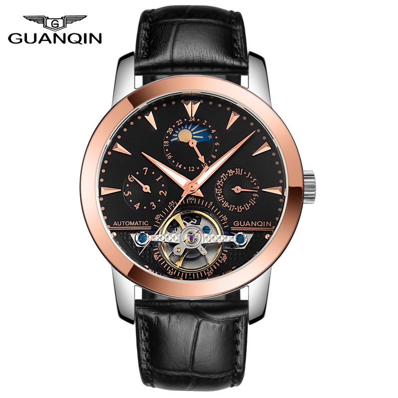 GUANQIN GQ10028 Automatic Mechanical Mens Watches Luxury Tourbillon Top Brand Gold Men Wristwatch Stainless Steel Reloj Hombre mens watches top brand luxury automatic mechanical tourbillon watch men luminous stainless steel wristwatch montre homme