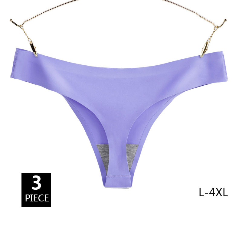 3PCS Ice Silk 4XL Large Size Seamless Women G-string Low Waist Sexy Solid Soft Lady Thongs Plus Size T-back   Panties   Underwear