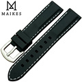 MAIKES black silica gel watch band 20mm 24mm man rubber watch strap high quality rubber strap dive watchband