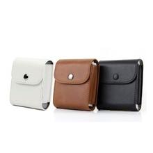 Retro Leather Button Storage Bag Pouch Photo Case For Fujifilm Instax SQ10 SQ6 SQ20 SP3 Camera Square Films (with Strap)