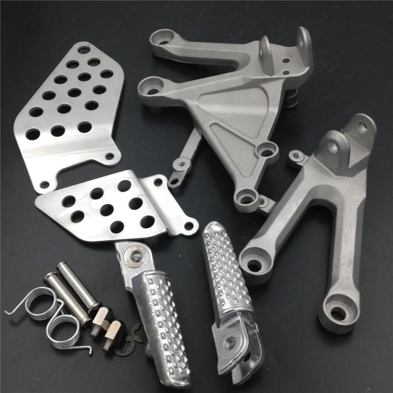 For 04-07 Honda CBR1000RR CBR 1000RR Front Footpegs Foot pegs Footrest Rests Pedals Bracket BLACK SILVER 2004 2005 2006 2007 arashi cbr1000rr 2004 2007 rider rearset for honda cbr 1000 2004 2005 2006 2007 cnc adjustable footrest footpegs cbr1000 rr 07