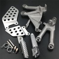 For 04 07 Honda CBR1000RR CBR 1000RR Front Footpegs Foot pegs Footrest Rests Pedals Bracket BLACK SILVER 2004 2005 2006 2007