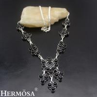 Hermosa مجوهرات غامضة الجمال الطبيعي الأسود الجزع 925 فضة ريترو المتأنق قلادة HF1594