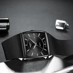 Image 3 - NIBOSI Luxury Brand Watches Men Stainless Steel Mesh Band Quartz Sport Watch Chronograph Mens Wrist Watches Clock Square Watch