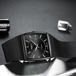 Image 3 - Nibosi marca de luxo relógios masculinos aço inoxidável malha banda quartzo esporte relógio cronógrafo masculino relógios de pulso relógio quadrado