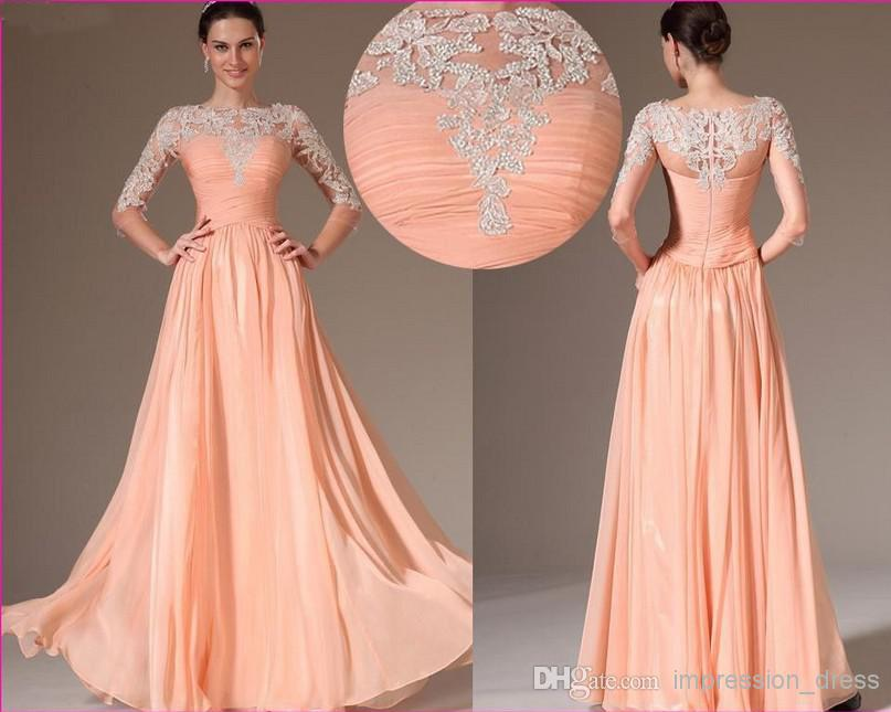 evening wedding guest dresses 2014 chiffon transparent applique wedding 3947
