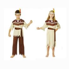 Disfraces de Halloween cosplay Primitivo Niños vestidos chica chico de gama alta Indio salvaje traje ropa del Funcionamiento de la Familia(China (Mainland))