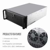 Open Air Mining Case Frame Mining Rig ATX for 6/8 GPU Graphics Card Compatible motherboard ITX, microATX, ATX 10 Fans for miners