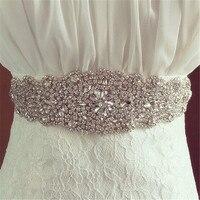 כסף Crystal חתונת שמלת הכלה שמלת אבנט יהלומים מלאכותיים אבנט חגורת כושר חגורה רחבה חגורת מחוך לנשים