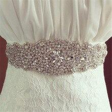 Silver Crystal Wedding Bridal Dress Cummerbund rhinestone Gown sash fitness belt waistband wide corset belt for