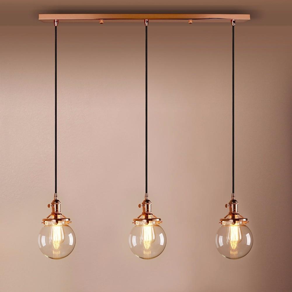 Industrial Vintage Modern Loft Bar Pendant Lights Edison Hanging Pendant Lights 3 Lights with Globe Glass Light Shade E27