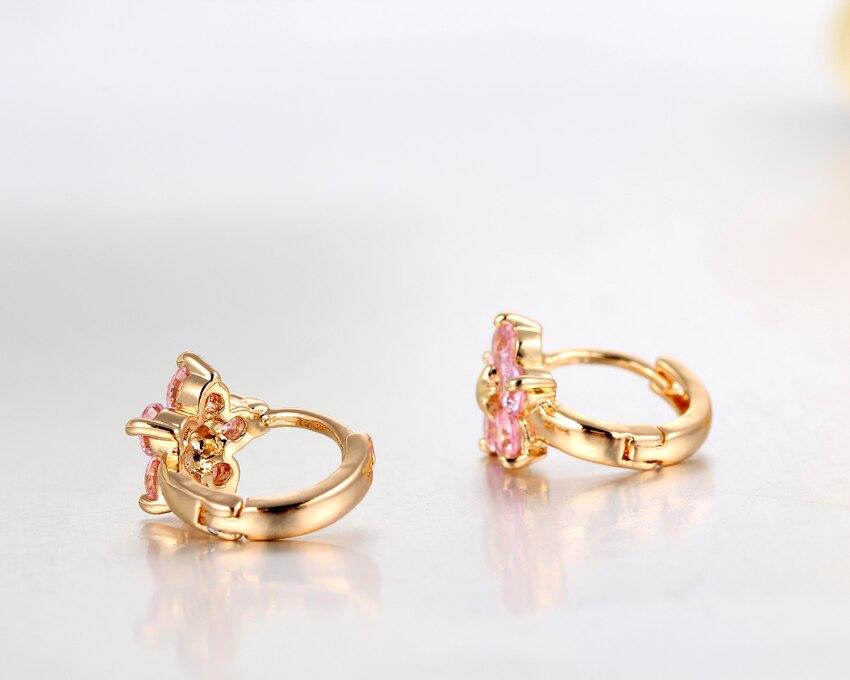 2018 Gold Plated 5 Round Pink Crystals Flower Circle Loop Huggies