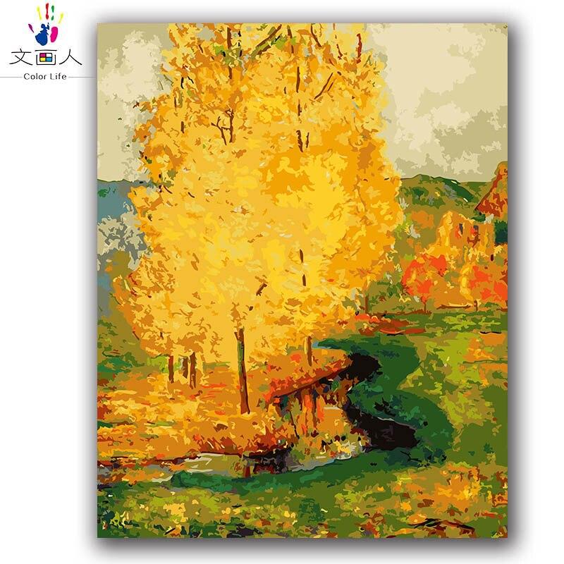 Diy pintura a óleo digital por números pintura Francesa amarelo árvore Verde montanhas paisagem rural Gauguin pintura