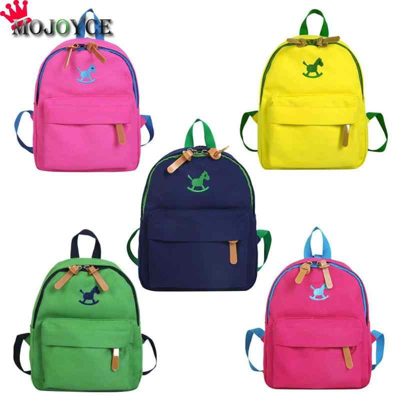 e76120fbda51 Cute Kids Boys Girls Wood Horse Printed Backpacks Canvas Children Casual  Travel Mini Shoulder Small Schoolbags