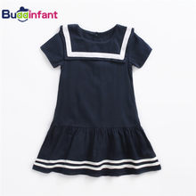 Baby   Children Girls Sailor Collar Dress Cotton Navy Preppy Style School  Student Summer Clothing Kids Dress Child Clothes 2018 5bf247d6533a
