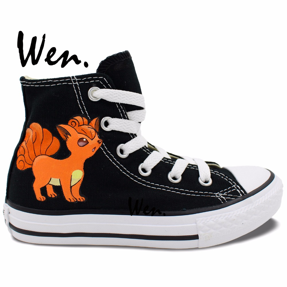 Wen Hot Hand Painted Shoes Design Custom Anime Pokemon Go Vulpix Fox High Top Men Womens Black Canvas Sneakers Birthday Gifts