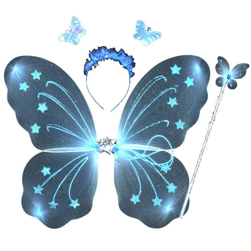 3Pcsset Princess Kids Baby Girls Butterfly Wing Wand -6771