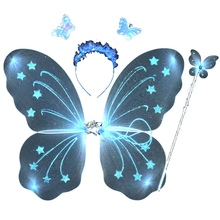 3Pcs/set Princess Kids Baby Girls Butterfly Wing Wand Headband Fairy Festive Party Supplies Costume Accessories