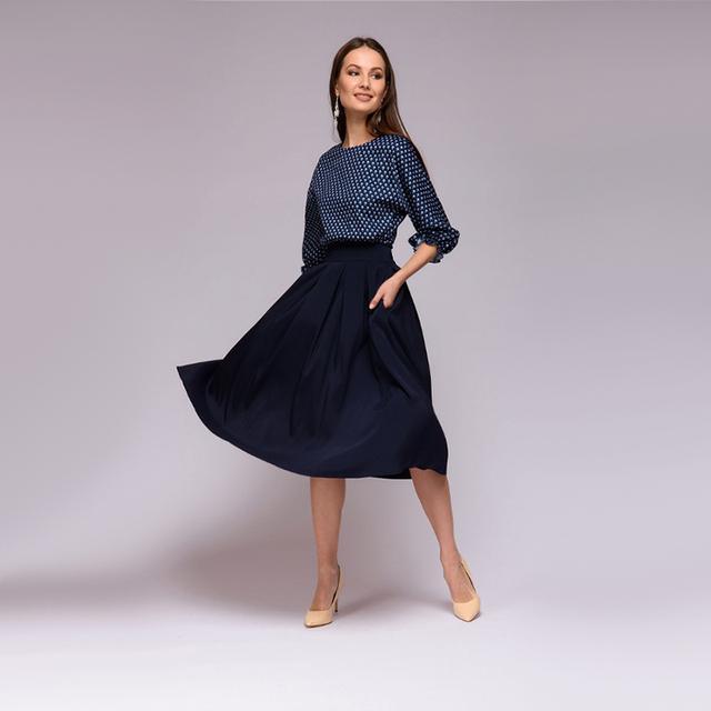 Women Vintage Dot  A Line Dress Ladies Lantern Sleeve Knee-Length Dress 2018 Summer Autumn Patchwork Women Elegant Party Dress
