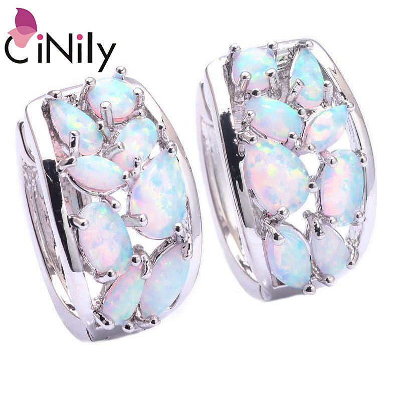 CiNily Lavish Oval Fire Opal Stone Hook Earrings Silver Plated Large White Lace Earring Fesyen Party Gift Jewelry Women Girls