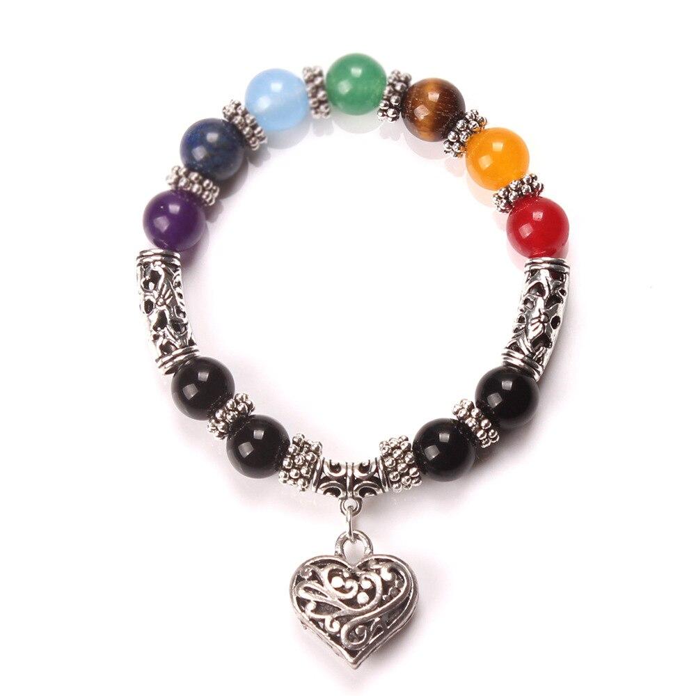 DIEZI New Men Women 7 Chakra Bracelets Bangles Colors Mixed Healing Crystals Stone Chakra Pray Mala Heart Charm Bracelet Jewelry