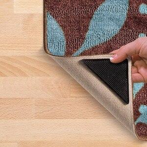 Image 5 - Alfombra de suelo para el hogar, 4 Uds., pinzas, autoadhesivas, antideslizantes, Tri pegatinas, reutilizables, lavables, de silicona, almohadilla para Perfume