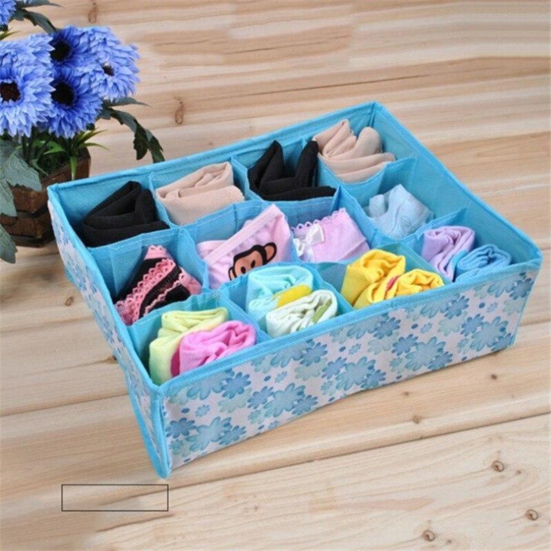 New Non Woven Fabric Folding Underwear Storage Box Bedroom: 12 Grid Folding Clothing Storage Box For Bra Underwear