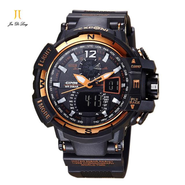 2016 Top qualidade Homens Esportes Militares Relógios de Quartzo Marca de Luxo Moda Casual relógio de Pulso dos homens Digital Watch relogio masculino
