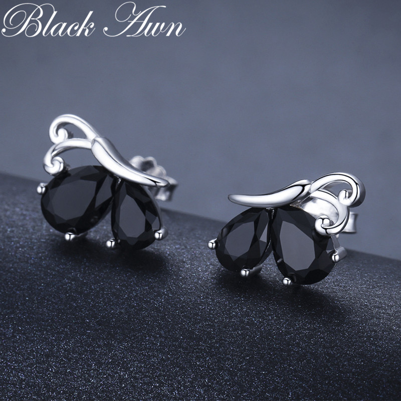 Black Awn 2019 New Romantic 1.8g 925 Sterling Silver Jewelry Natural Butterfly Black Spinel Party Stud Earrings For Women II107
