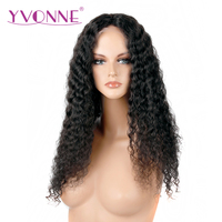 YVONNE 180 Density Brazilian Curly Virgin Human Hair Lace Front Wigs With Baby Hair Natural Color