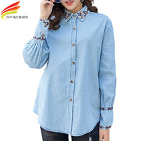 Denim Shirt Women New 2018 Spring New Casual Long Sleeve Embroidery Shirts And Tops Peter Pan