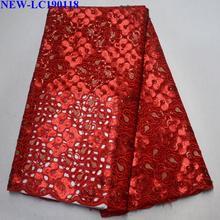 Африканская блесток высокого качества красный цвет органза кружевная ткань вышивка африканская французская Тюль кружевная ткань для вечернего платья HG-004