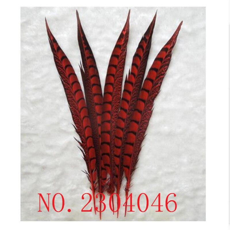 En gros naturel 14-16 pouces (35-40 CM) cuivre poulet côté faisan plumes teints rouge 50 bricolage coiffure accessoires
