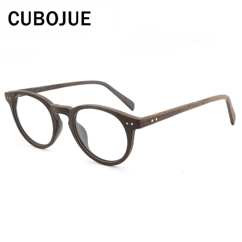 ebd6258ae6d Cubojue Vintage Round Acetate Glasses Women Men Wooden Grain Eyeglass Frames  for Prescription Retro Spectacles Quality Brand-in Eyewear Frames from  Apparel ...