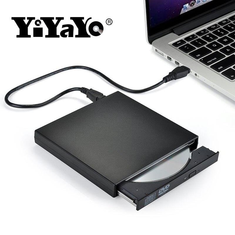 YiYaYo Externe DVD ROM Optisches Laufwerk USB 2.0 CD/DVD-ROM CD-RW Player Brenner Slim Tragbare Reader Recorder Portatil für Laptop