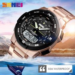 50 м водостойкие Мужские Цифровые кварцевые наручные часы 2 времени Дата Неделя дисплей El Light мужские спортивные часы из нержавеющей стали